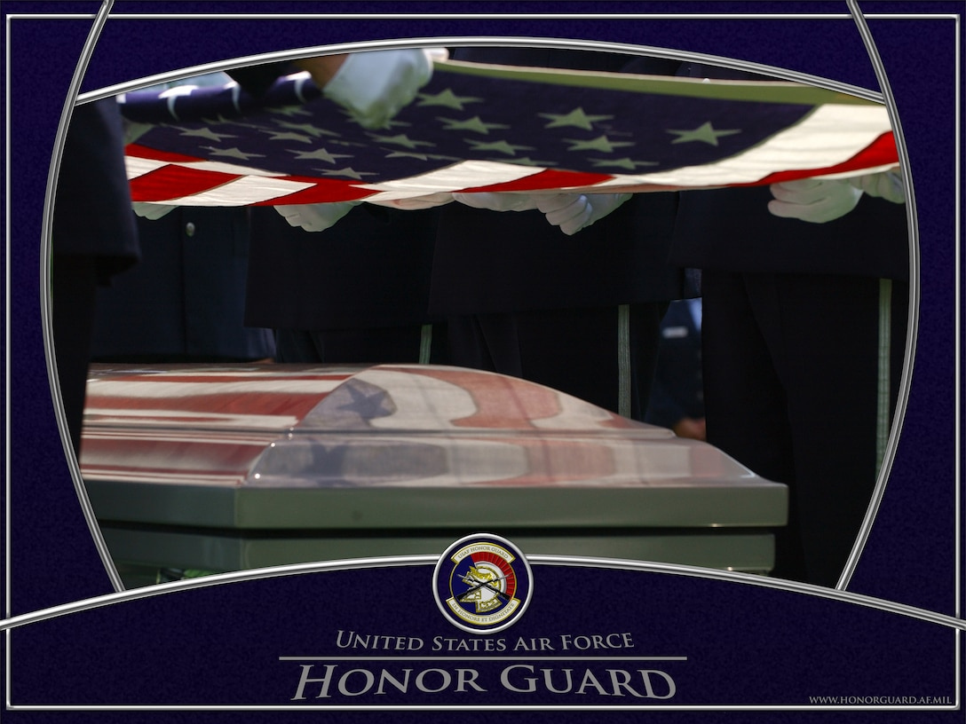 USAF Honor Guard Body Bearers at tabletop.  Graphic by SSgt David Merrick.