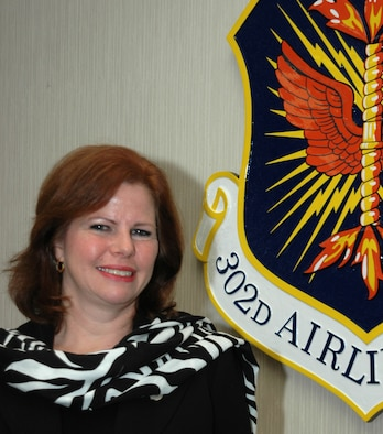 Elizabeth Jones, coordinator for the 302nd Airlift Wing's Key Spouse Program, recently sat down for an interview with the wing's magazine staff, the Front Range Flyer. She answered questions about issues facing Air Force Reserve families and what she felt about current support programs for Reservists. Mrs. Jones is the wife of Col. Kurt Jones, 302nd Operations Group commander. (U.S. Air Force photo/Staff Sgt. Stephen J. Collier)