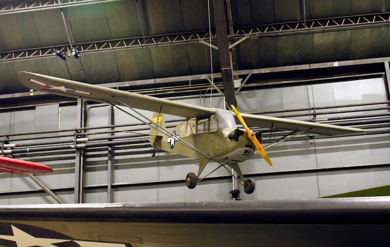 "DAYTON, Ohio -- Aeronca L-3B ""Grasshopper"" in the World War II Gallery at the National Museum of the United States Air Force. (U.S. Air Force photo)"