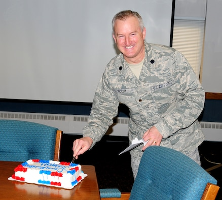 NIAGARA FALLS AIR RESERVE STATION, NIAGARA FALLS, NY-- Lieutenant Colonel Timothy McCoy, 914th Mission Support Group Commander, celebrates his promotion to the rank of Brigadier General, December 22. (U.S. Air Force photo by Staff Sgt Stephanie Clark) (released)