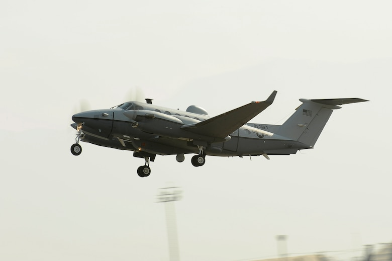 BAGRAM AIRFIELD Afghanistan-- An MC-12W takes off from Dec. 29, 2009. This is the first mission of the newly activated 4th Expeditionary Reconnaissance Squadron. (U.S. Air Force photo by: Tech. Sgt. Jeromy K. Cross)