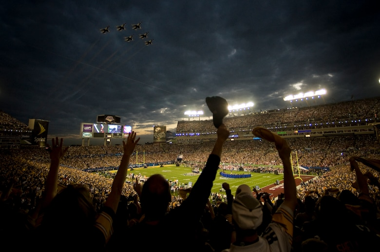 The U.S. Air Force Thunderbirds fly over Superbowl XLIII prior to kickoff in Tampa, Fla., Feb. 1.  (U.S. Air Force photo/Staff Sgt. Kristi Machado)