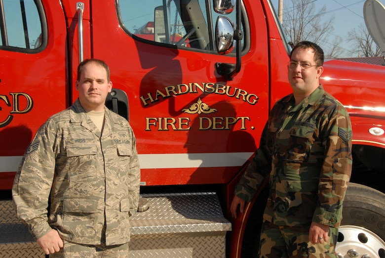 Staff Sgt. Thomas Moses and Staff Sgt. Jason Scharf identifed the two carbon monoxide poisoning victims today during wellness checks conducted in conjuction with Darren Voyles, a firefighter with the Hardinsburg City Fire Department.  (Photo by Tech. Sgt. Dennis Flora / KyANG)