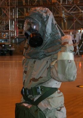 An Airman makes the final gas mask adjustments before the Gas Mask ROE event at the ATSO Rodeo Jan. 30.