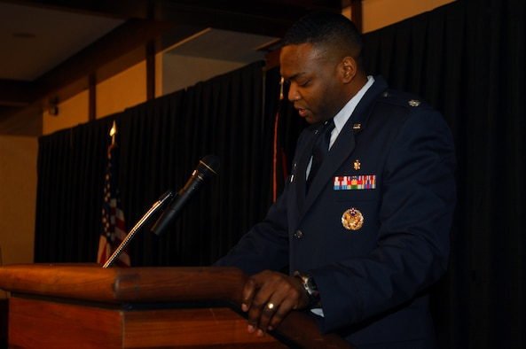 Lt Col. Alfred Flowers, 435th Medical Support Squadron commander, gives an inspirational speech at the African American History Month luncheon Jan. 30, 2009, at Ramstein Air Base. The month dedicated to African American heritage kicked-off with the luncheon and will be celebrated throughout the month of February. (U.S. Air Force photo by Airman 1st Class Kenny Holston)