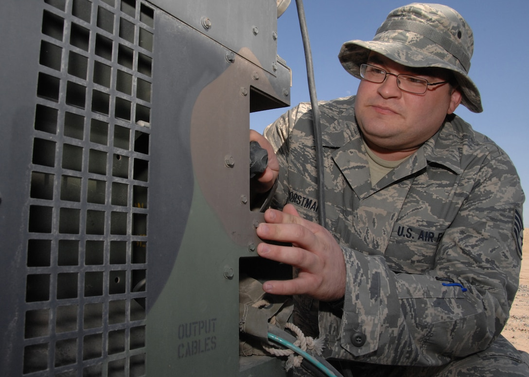SOUTHWEST ASIA -- Staff Sgt. Wade Horstman, 386th Expeditionary Civil Engineer Squadron, conducts a weekly inspection on a generator connected to an airborne chemical detector at an air base in Southwest Asia, Feb. 4. Sergeant Horstman is the emergency management logistics non-commissioned officer in charge currently deployed from the 114th Fighter Wing at Foss Field, S.D.(U.S. Air Force photo/Senior Airman Courtney Richardson)