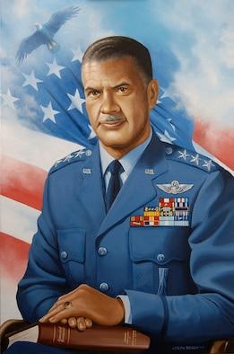 CANNON AIR FORCE BASE, N.M. -- Among his achievements, Gen. Benjamin O. Davis Jr. (1912-2002) was the first African-American to graduate from West Point in the 20th century and commanded the all-black unit, the Tuskogee Airmen, during World War II. (Air Force artwork)