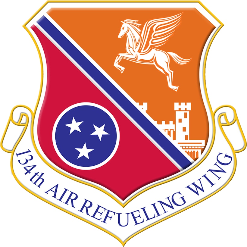Unit Shield for the 134th Air Refueling Wing. In accordance with Chapter 3 of AFI 84-105, commercial reproduction of this emblem is NOT permitted without the permission of the proponent organizational/unit commander.