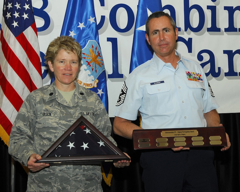 "SALT LAKE CITY, Utah - Lt. Col. Lisa Olsen, 151st Air Refueling Wing Community Manager, and Chief Master Sgt. Kyle Dillingham, 151st ARW Command Chief, receive the wing's Combined Federal Campaign Award for ""Large Organization in Utah"" on January 28.  The award recognizes a Utah federal agency with the highest percentage of participation in the program, and has more than 300 people in the organization.  The CFC operates in more than 300 localities and is the only authorized fundraising entity for federal government employees.  Courtesy photo."