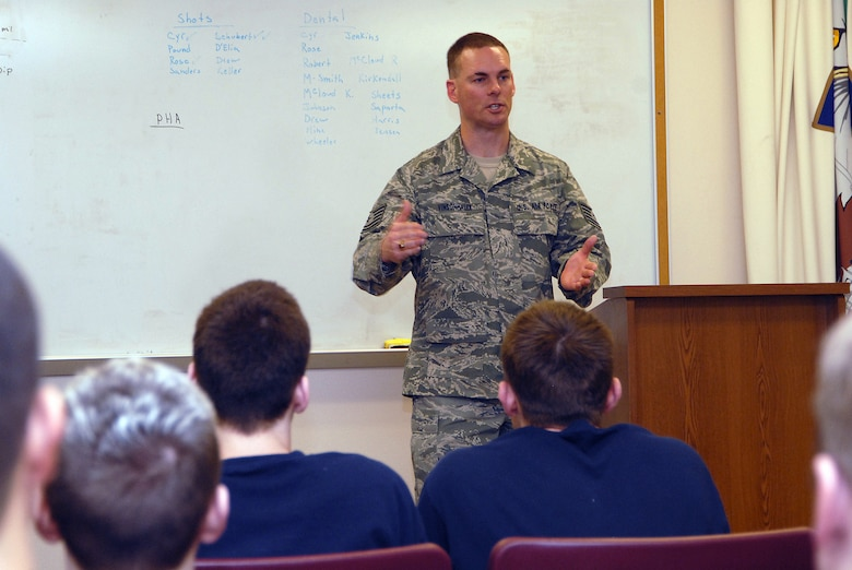 As NCOIC of the Student Flight, Tech. Sgt. Steve Vinsonhaler sets up activities each drill weekend that promote and advance students? preparation for Basic Military Training. He will work closely with the person who will be selected to lead Student Flight activities. (Air Force photo by Senior Amn Robert Barney) (Released)
