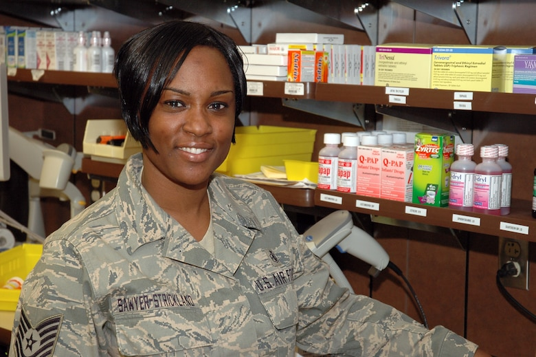TEAM BUCKLEY WARRIOR OF THE WEEK -- Tech. Sgt. Lakesha Sawyer-Strickland, 460th Medical Group, is Team Buckley's Warrior of the Week for Feb. 13 - 19. Sergeant Sawyer Strickland is the Non-Commissioned Officer in Charge of Buckley's Satellite Pharmacy. (U.S. Air Force photo by Staff Sgt. Sanjay Allen)
