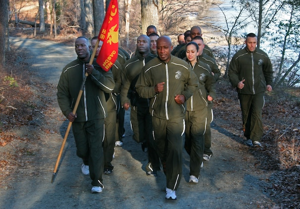 The new running suits, first revealed to Marines in Iraq Nov. 7, 2007, started arriving in bulk at Marine Corps installations in January, Commandant of the Marine Corps Gen. James Conway said. The mandatory possession date is Oct. 1. ::r::::n::