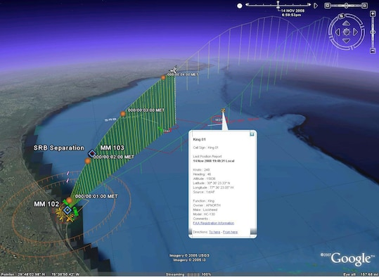 This graphic depicts mapping software that can now be used by the space shuttle's Joint Task Force commander to assist him in visually tracking airborne and ground-based search and rescue assets during launches.