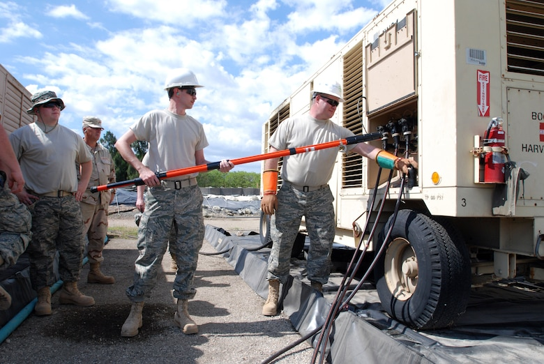 Senior Airman Nathan Ansell and Master Sgt. Daryl Smith learn how to make repairs on generators, Feb. 3. Both Air National Guardsmen are assigned to the 130th Airlift Wing, Civil Engineering Squadron, and are currently being trained to join the 474th Expeditionary Civil Engineering Squadron, which maintains Joint Task Force Guantanamo's Camp Justice and Expeditionary Legal Complex. JTF Guantanamo conducts safe, humane, legal and transparent care and custody of detained enemy combatants, including those convicted by military commission and those ordered released. The JTF conducts intelligence collection, analysis and dissemination for the protection of detainees and personnel working in JTF Guantanamo facilities and in support of the Global War on Terror. JTF Guantanamo provides support to the Office of Military Commissions, to law enforcement and to war crimes investigations. The JTF conducts planning for and, on order, responds to Caribbean mass migration operations.