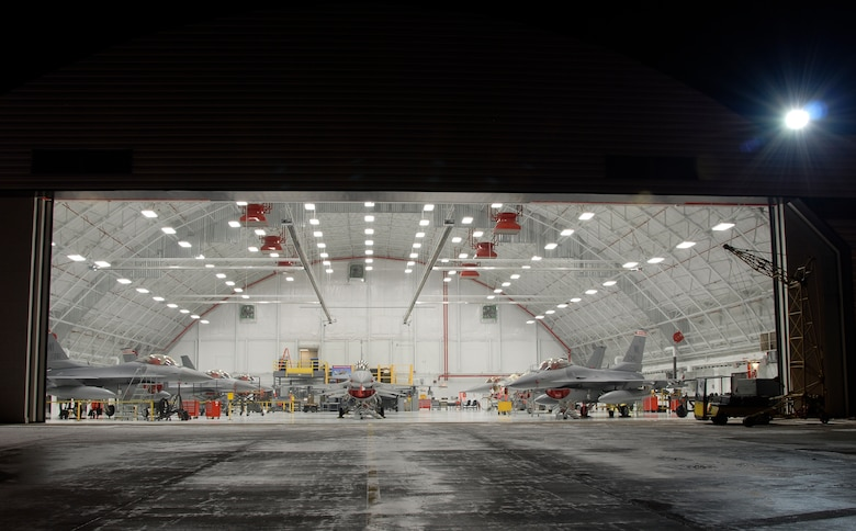 F-16C Fighting Falcons from the 115th Fighter Wing, Madison, Wis., are housed inside a newly remodeled aircraft hangar Jan. 23, 2008.  This $2 million facility upgrade project was completed Dec. 29, 2008 and included the installation of an upgraded fire suppression system, ceiling system, floor and new operational hangar doors.  (U.S. Air Force Photo by: Master Sgt. Dan Richardson) (Released)