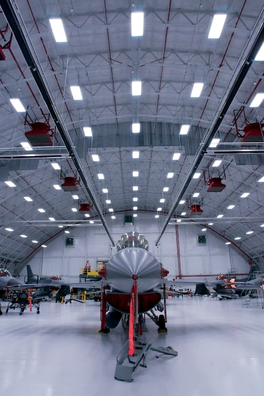 F-16C Fighting Falcons from the 115th Fighter Wing, Madison, Wis., are housed inside a newly remodeled aircraft hangar Jan. 23, 2008.  This $2 million facility upgrade project was completed Dec. 29, 2008 and included the installation of an upgraded fire suppression system, ceiling system, floor and new operational hangar doors.  (U.S. Air Force Photo by: Master Sgt. Paul Gorman) (Released)