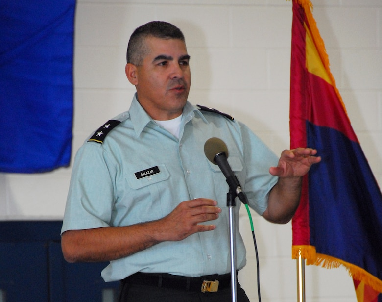 During his first visit to the wing as Adjutant General, Maj. Gen. Hugo Salazar addresses a standing-room-only crowd in Maintenance Hangar 10 here, Feb 7. The general lauded the achievements of the wing's annual award recipients. (Air National Guard photo by Master Sgt. Dave Neve)