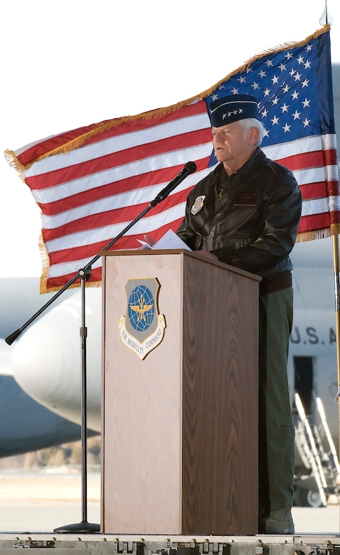 Gen. Arthur Lichte, Air Mobility Command commander, presents Team Dover's first C-5M Super Galaxy, The Spirit of Global Reach, during a ceremony on Dover Air Force Base Feb. 9.  (U.S. Air Force photo/Jason Minto)