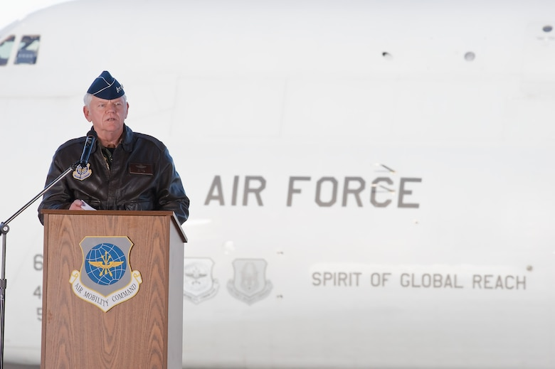 Gen. Arthur Lichte, Air Mobility Command commander, presents Team Dover's first C-5M Super Galaxy, The Spirit of Global Reach, during a ceremony on Dover Air Force Base Feb. 9.  (U.S. Air Force photo/Roland Balik)