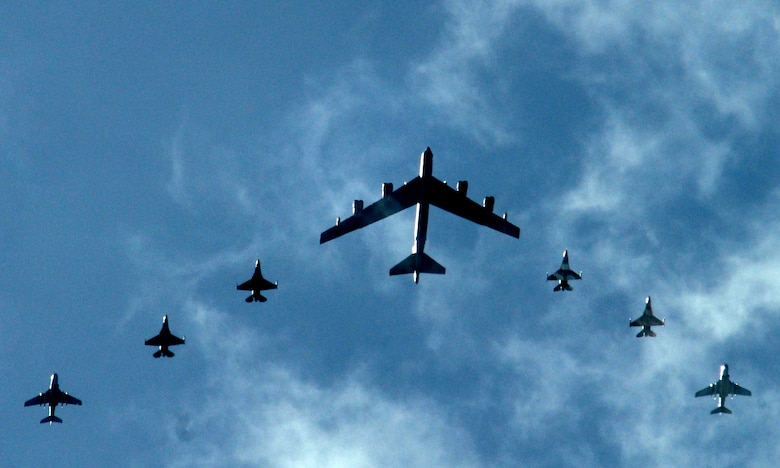 A B-52 Stratofortress leads two Japan Air Self Defense Force F-2s, two Navy EA-6Bs, and two F-16 Fighting Falcon Aggressors, in a fomration flight over Guam during Cope North 09-1 Feb. 10.  Cope North is an annual bilateral exercise between U.S. and Japanese forces held at Andersen Air Force Base, Guam, designed to increase interoperability between the two forces in defense of Japan. (U.S. Air Force photo by Senior Airman Ryan Whitney)