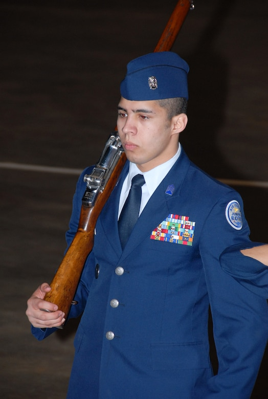Cadet Meteo Rodriguez of the Wheeler High School JROTC Color Guard from Marietta, Ga., concentrates as his team competes in Saturday's national drill competition. (Air Force photo by Bud Hancock)