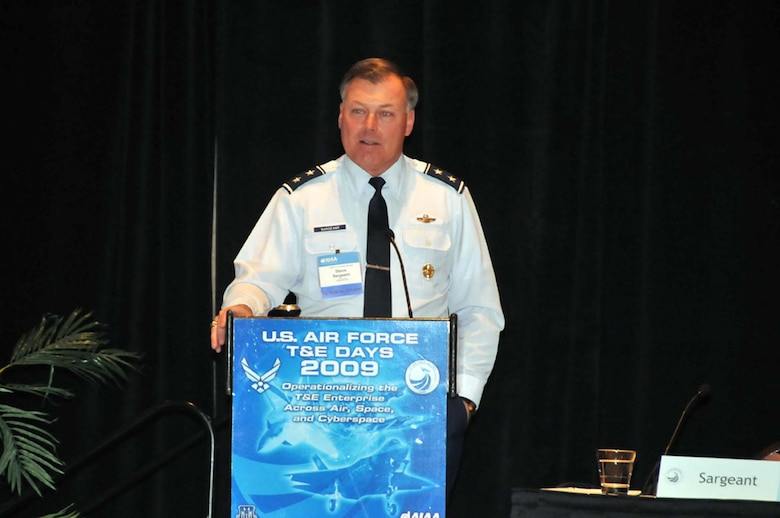 Air Force Operational Test and Evaluation Center Commander Maj. Gen. Stephen T. Sargeant speaks at the 2009 U.S. Air Force Test and Evaluation Days Conference held in Albuquerque, N.M., Feb 10-12. The focus of the conference was on operationalizing the Air Force test and evaluation enterprise across the domains air, space, and cyberspace. AFOTEC, in conjunction with the American Institute of Aeronautics and Astronautics, hosted the conference.