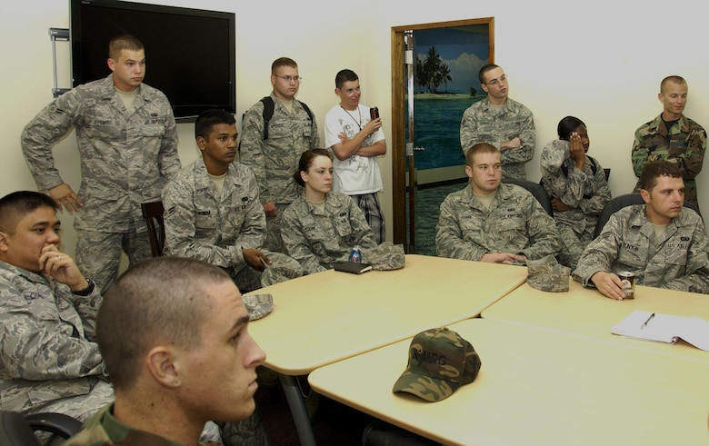 ANDERSEN AIR FORCE BASE, Guam - Team Andersen Airmen listen attentively during the First Four's general membership meeting held at the HotSpot here Feb. 10. Roughly 30 Airmen attended the hour-long meeting. (U.S. Air Force photo by Airman 1st Class Carissa Wolff)