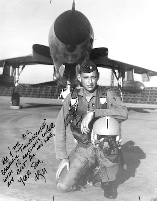 Ken Bell standing in front of an F-105. (U.S. Air Force photo)