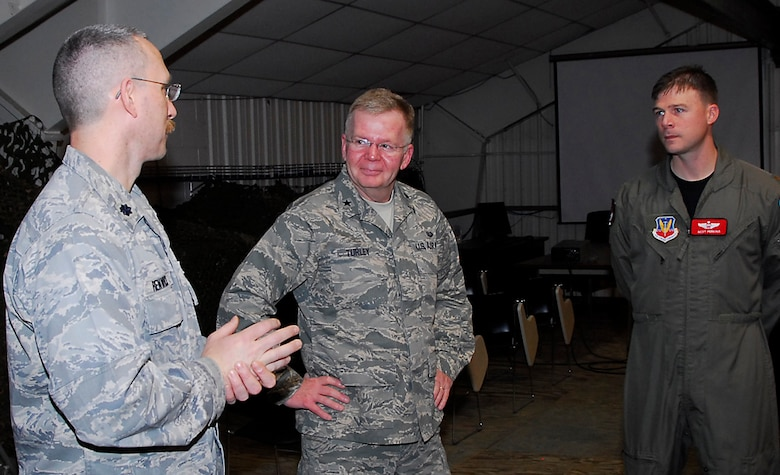 (L to R) Lt. Col. Patrick Renwick, 113th ASOS commander; Brig. Gen. F. Andrew Turley, Air National Guard Assistant to the Command Staff Judge Advocate; Maj. Scot Perkins, Air Liaison Officer