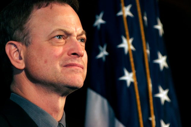 Co-executive producer of 'Brothers at War' Gary Sinise participates in a question and answer session following the premiere of the movie Feb. 20 at the National Press Club. Jake Rademacher said he made the documentary to 'Bring the American people to the frontlines of the war in Iraq.'