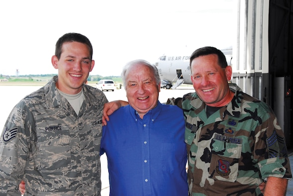 From left to right: Master Sgt. (Ret.) Bob Portice, Chief Master Sgt. Jeff Portice, and Staff Sgt. Christopher Portice.
