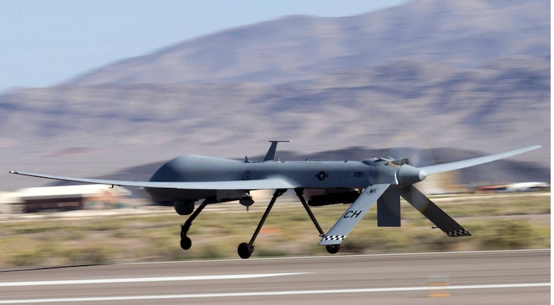 CREECH AFB, Nev. -- A MQ-1B Predator unmanned aircraft system takes off for a training mission at Creech Air Force Base, Nev. (U.S. Air Force photo/Senior Airman Larry E. Reid Jr.)