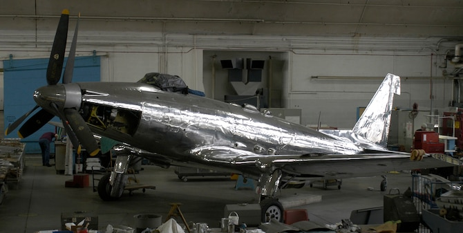 DAYTON, Ohio - The Fisher P-75A is being restored at the National Museum of the U.S. Air Force. (U.S. Air Force photo)
