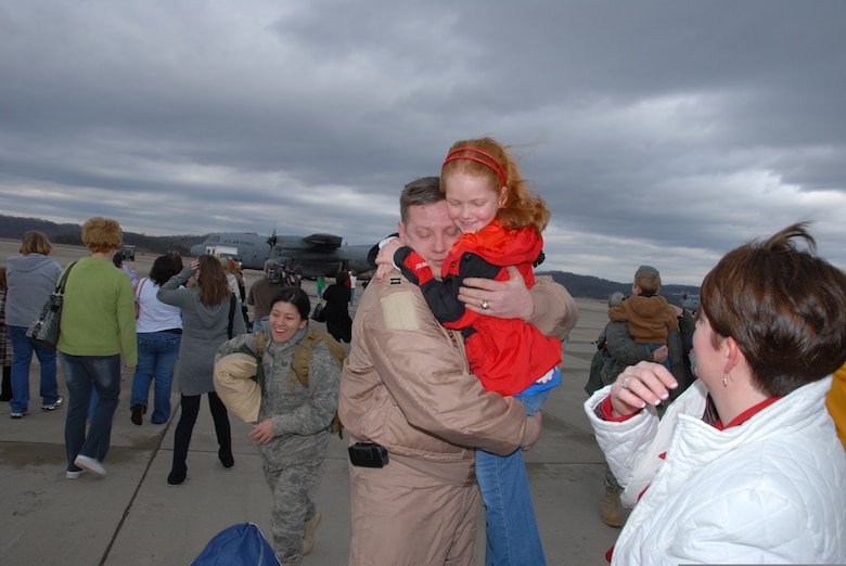 U.S. Air Force 130th Airlift Wing Air National Guardsmen return home Feb. 18, 2009, to Air National Guard Base Yeager in Charleston, W.V., after a lengthy deployment to Bagram, Afghanistan. (U.S. Air Force photo by Staff Sgt. William John Hinamon/Released)
