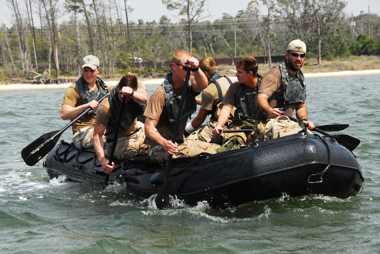 Staff Sgt. Timothy P. Davis (back left of boat) in amphibious training with his team. Sergeant Davis died of wounds suffered when his vehicle encountered an improvised explosive device in Afghanistan Feb. 20, 2009. He was assigned to the 23rd Special Tactics Squadron at Hurlburt Field, Fla. (U.S. Air Force photo)