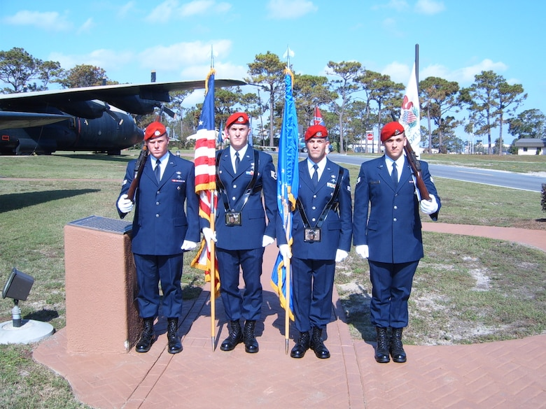Staff Sgt. Timothy P. Davis (second from left) served as a member of the honor guard  during a ceremony held Nov 12, 2005. Sergeant Davis died of wounds suffered when his vehicle encountered an improvised explosive device in Afghanistan Feb. 20, 2009. He was assigned to the 23rd Special Tactics Squadron at Hurlburt Field, Fla. (U.S. Air Force photo)
