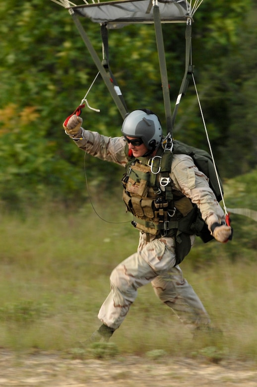 Staff Sgt. Timothy P. Davis during parachute readiness training. Sergeant Davis died of wounds suffered when his vehicle encountered an improvised explosive device in Afghanistan Feb. 20, 2009. He was assigned to the 23rd Special Tactics Squadron at Hurlburt Field, Fla. (U.S. Air Force photo)