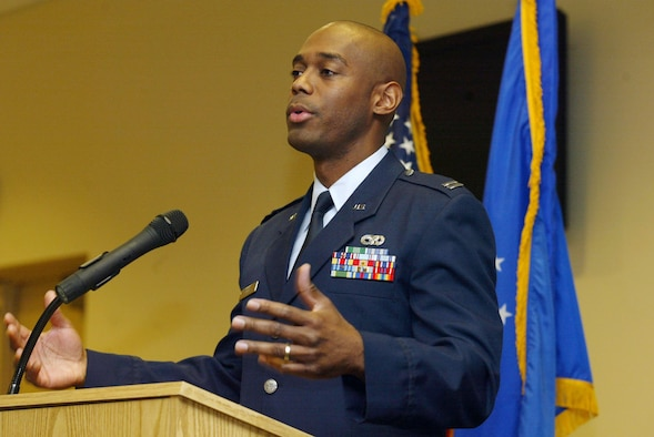 """Dobbins Air Reserve Base, Ga. - Capt Toney Collins, 94th Logistics Readiness Squadron operations officer, was the keynote speaker for this year's event.  Captain Collins shares his experiences from his service to the 56th Presidential Inauguration Committee for President Barack Obama's inauguration and shares his views on helping African American youth move forward.  """"Each individual has to get involved,"""" he said.  When you have the opportunity, """"take an interest and ask a young person about school.  You'll be surprised as to the influence that will have on a young person.""""  (U.S. Air Force photo/Don Peek)"""