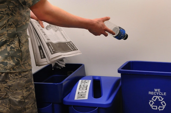 Recycling can have long-lasting and positive effects on the environment.  Achieving an 80 percent recycling rate would eliminate the green-house gases generated from 2,500 automobiles. (U.S. Air Force photo by Senior Airman Tim Chacon)