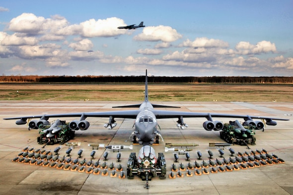 Munitions on display demonstrate the full capabilities of the B-52 Stratofortress, a bomber in the Air Force.  (U.S. Air Force photo/Tech. Sgt. Robert Horstman)