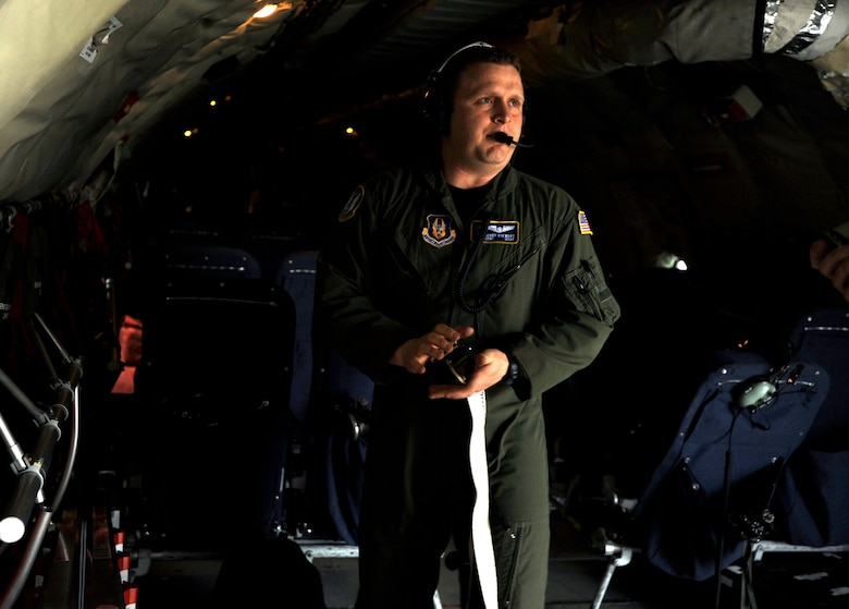 Staff Sgt. Kenny Stewart adjusts a tie-down strap aboard a KC-135 Stratotanker prior to leaving McConnell Air Force Base, Kan., for a three-day aeromedical evacuation training exercise Friday morning. Sergeant Stewart is a KC-135 boom operator assigned to the 18th Air Refueling Squadron, the flying unit of the 931st Air Refueling Group. The 931st is an Air Force Reserve unit at McConnell AFB. (U.S. Air Force photo/Tech. Sgt. Jason Schaap)