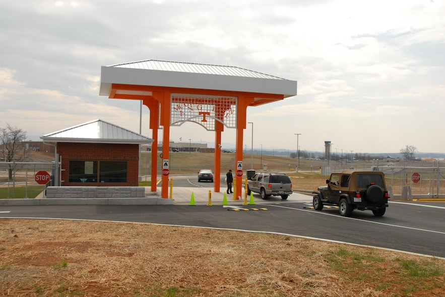 The new Main Gate at McGhee Tyson ANGB, TN.  The $3.2 million facility opened on 5 Feb.  (Air National Guard Photo by Tech. Sgt. Kendra Owenby)