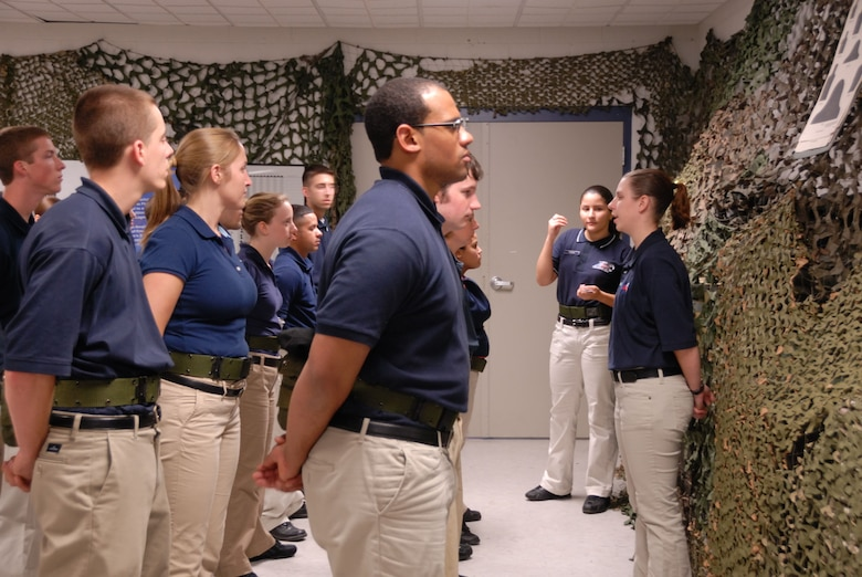 Jessica Derosiers (far right), Yankee Flight team leader, addresses fellow trainees prior to the close of another productive drill weekend Sunday, October 5, 2008.  Yankee Flight members attend UTA's to learn the ropes in preparation for Basic Training. (U.S. Air Force photo by Staff Sgt. Erin McNamara)