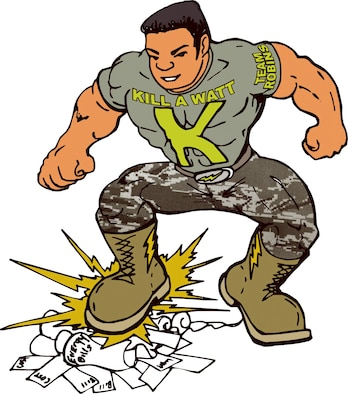 """Commander Kill A Watt will be used throughout the energy conservation campaign. The drawing helps remind base members to """"stomp out"""" unnecessary energy use. Illustration by Harry Paige"""