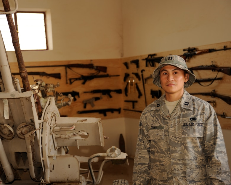 TAJI, Iraq -- Capt. Ted Yang, J4 Taji Liaison Officer, poses for a photo at Taji Military Base, Iraq. Yang, a Fresno, Calif. native, is deployed from the 509th Logistics Readiness Squadron, Whiteman, Mo. (U.S. Air Force photo/Staff Sgt. Paul Villanueva II)