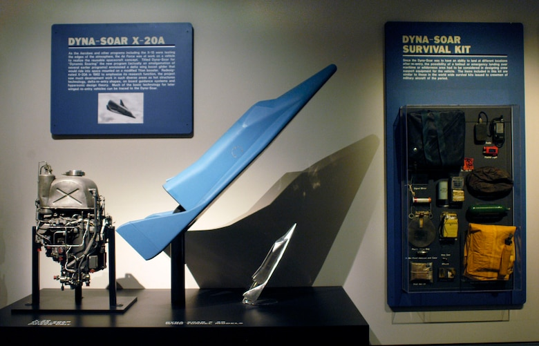 DAYTON, Ohio -- Dyna-Soar X-20 auxiliary power unit (left), wind tunnel model and survival kit in the Missile and Space Gallery at the National Museum of the United States Air Force. (U.S. Air Force photo)