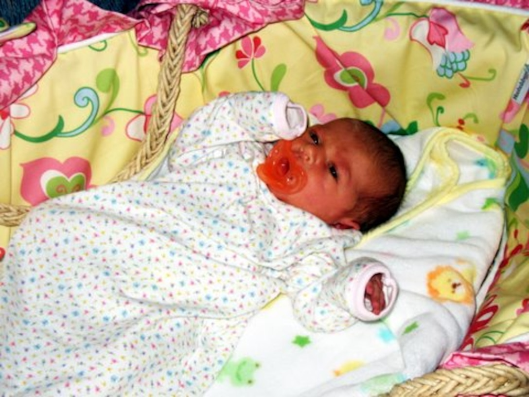 Emily Anne Goeders, daughter of Senior Airman Goeders, 552nd Air Control Networks Squadron, was the first baby to be born in the Oklahoma City metro area in 2009. Photo courtesy of Airman Goeders.
