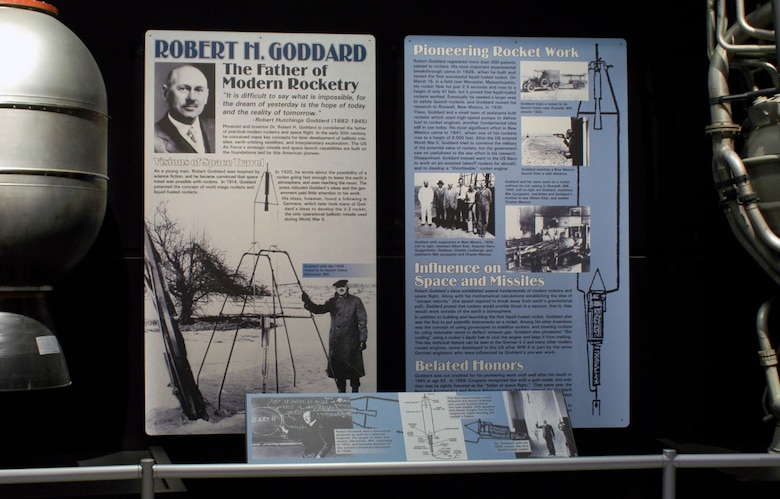 DAYTON, Ohio -- Dr. Robert H. Goddard exhibit in the Missile and Space Gallery at the National Museum of the United States Air Force. (U.S. Air Force photo)