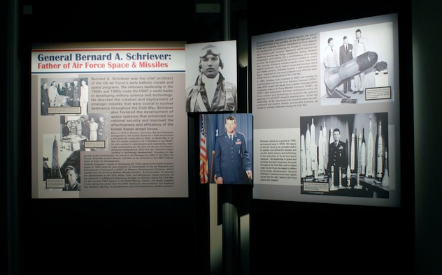 DAYTON, Ohio -- Gen. Bernard A. Schriever exhibit in the Missile and Space Gallery at the National Museum of the United States Air Force. (U.S. Air Force photo)