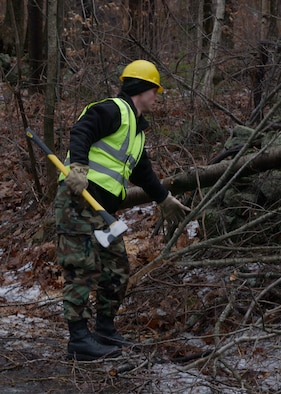 Members of the Mass. Air National Guard deployed 15 December to provide aid to neighboring communities battling from the devastation caused by the December 11th ice storm, which left much of Central and Western Massachusetts without power.